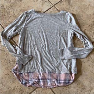 LOFT pink plaid trim long sleeve gray tee